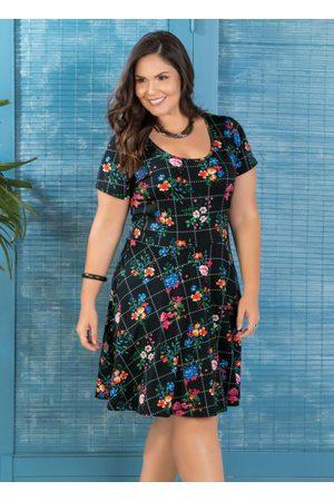 Marguerite Vestido Evasê Plus Size Floral Dark