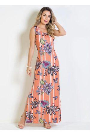 QUEIMA ESTOQUE Mulher Vestido Estampado - Vestido Longo com Fendas Floral/Arabescos