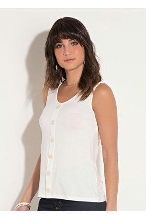 QUINTESS Blusa Off White com Botões Decorativos