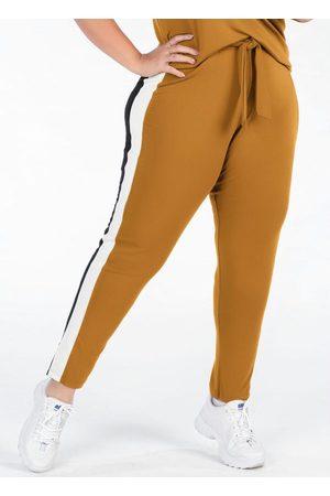 Mink Mulher Calça Cintura Alta - Calça Plus Size Mostarda com Amarração