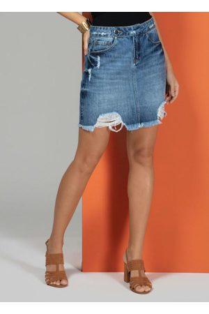 QUINTESS Saia Jeans com Rasgados