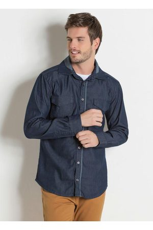 Actual Camisa Jeans com Bolsos Funcionais