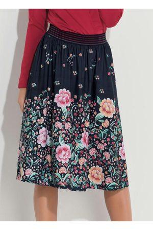 QUINTESS Mulher Saia Estampada - Saia Midi Floral Barrado com Cintura Alta