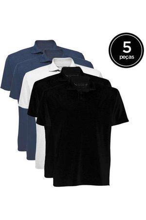 Basicamente Kit de 5 Camisas Polo Masculinas de Várias Cores A