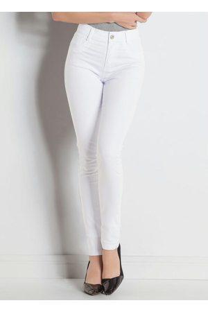 Sawary Jeans Calça Hot Pant Branca Sawary com Cintura Alta
