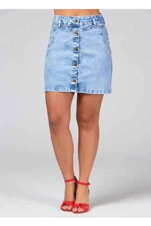 QUINTESS Saia Curta Jeans com Botões na Frente