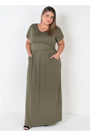 Mink Vestido Longo Decote V Verde