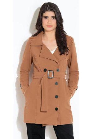 QUINTESS Mulher Trench Coat - Casaco Caramelo com Faixa e Botões