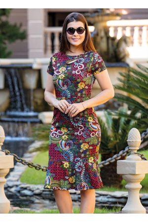 ROSALIE Vestido Midi Cashmere com Babado Moda Evangélica