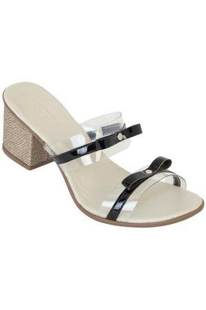 QUEIMA ESTOQUE Mulher Sapato Mule - Tamanco Salto Baixo Fios Metalizados