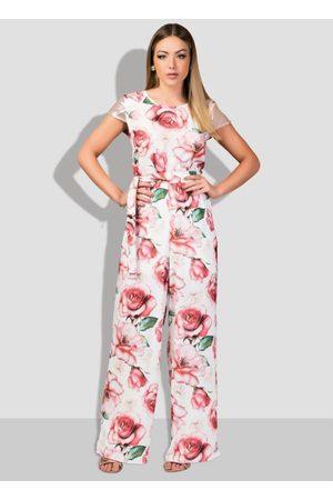 QUINTESS Mulher Macacão - Macacão com Faixa e Costas Vazadas Floral Rose