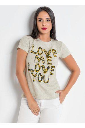 QUEIMA ESTOQUE Mulher Camiseta - T-Shirt Mescla com Estampa na Frente