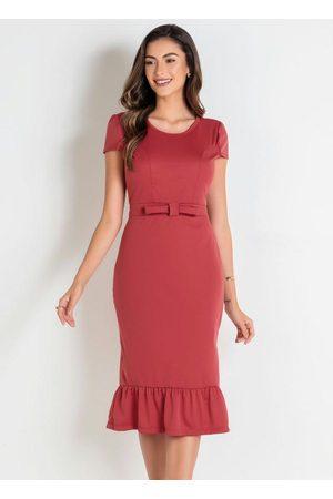 ROSALIE Vestido Ferrugem Moda Evangélica com Laço