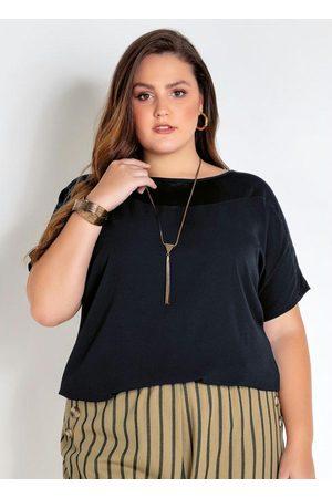 Mink Blusa Plus Size Preta com Detalhe em Tule