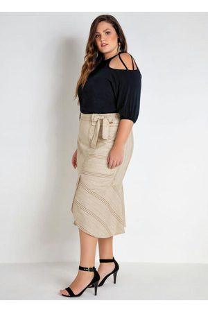 Mink Mulher Blusa - Blusa Plus Size Preta com Ombros Vazados
