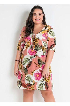Marguerite Mulher Vestido Estampado - Vestido Floral Amplo com Amarração Plus Size