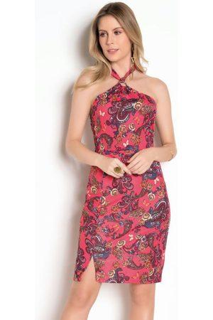 QUEIMA ESTOQUE Vestido Floral com Decote Halter e Argola