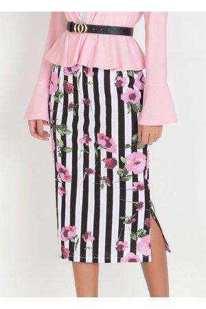 QUEIMA ESTOQUE Mulher Saia Estampada - Saia Lápis Midi Moda Evangélica Floral Barrado