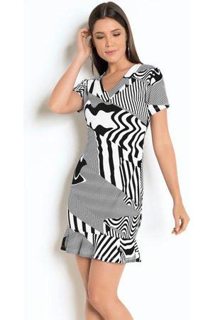 MODA POP Vestido Geométrico com Babado e Mangas Curtas