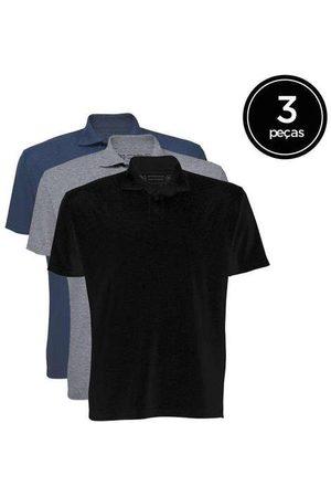 Basicamente Kit de 3 Camisas Polo Masculinas de Várias Cores P