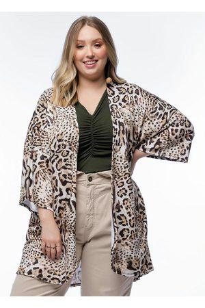 Mink Mulher Quimono - Kimono Plus Size Estampado Onça Amplo
