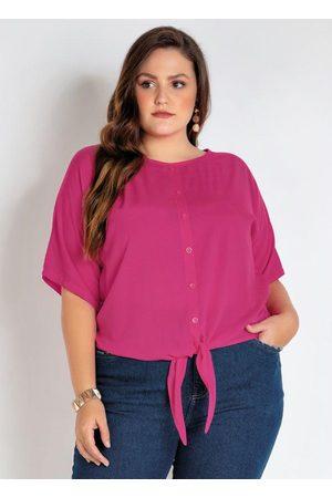 Mink Camisa Plus Size Pink com Amarração e Botões
