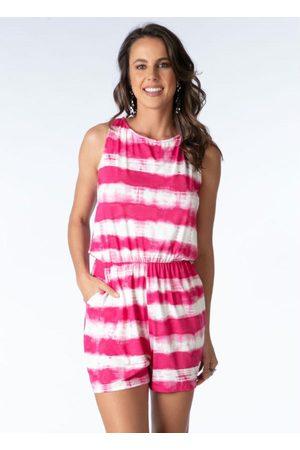 QUINTESS Mulher Macaquinho - Macaquinho com Amarração Costas Tie Dye