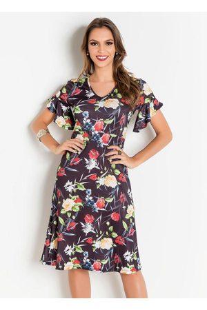 QUEIMA ESTOQUE Vestido Floral Dark Moda Evangélica