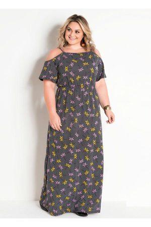 Marguerite Vestido Longo Plus Size Chevron e Floral