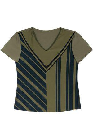 Gris Mulher Camiseta - Blusa Manga Curta Estampada