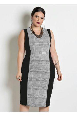 Marguerite Mulher Vestido Médio - Vestido em Moletinho Plus Size Xadrez
