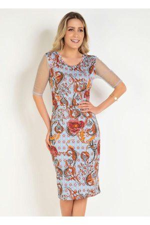 QUEIMA ESTOQUE Mulher Vestido Médio - Vestido Arabescos com Tule Moda Evangélica