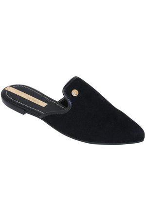 MOLECA Mulher Sapato Mule - Mule Preta com Detalhe Dourado