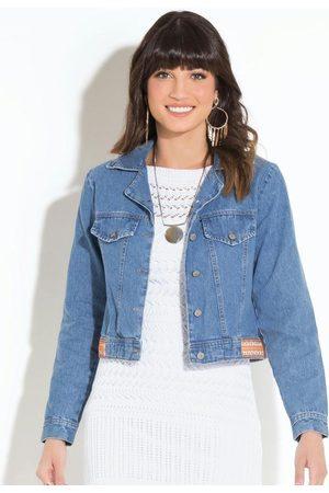 QUINTESS Jaqueta Jeans com Franjas nas Costas