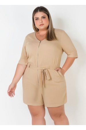 Mink Macaquinho Plus Size com Ziper