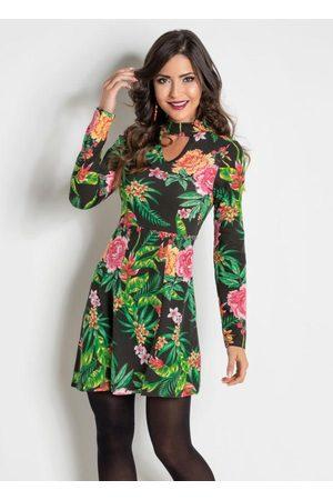MODA POP Vestido com Gola Choker Floral e Folhagem