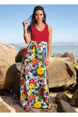 QUEIMA ESTOQUE Mulher Vestido Estampado - Vestido Longo Floral com Fita para Amarrar