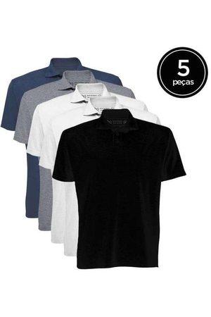 Basicamente Homem Camisa Formal - Kit de 5 Camisas Polo Masculinas de Várias Cores B