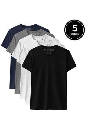 Basicamente Kit de 5 Camisetas Básicas Gola V de Várias Cores