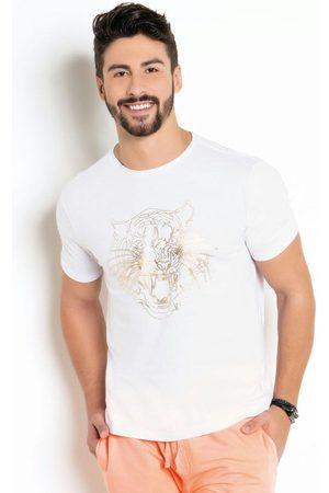 QUEIMA ESTOQUE Camiseta BrancaCom Estampa em Foil Dourado