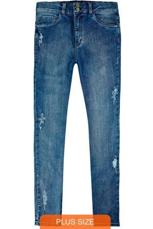 Wee Malwee Mulher Calça Skinny - Calça Skinny Jeans com Puídos