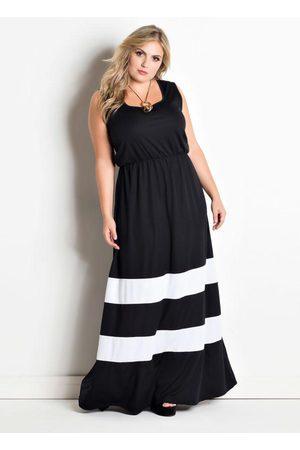 Marguerite Mulher Vestido Longo - Vestido Longo Listras Brancas Plus Size