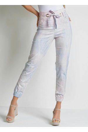 Sawary Jeans Calça Tie Dye Jogger com Amarração Sawary