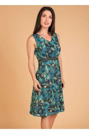 QUEIMA ESTOQUE Mulher Vestido Médio - Vestido Evasê Folhagem Moda Evangélica