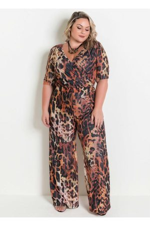 Marguerite Macacão Pantalona Onça Plus Size