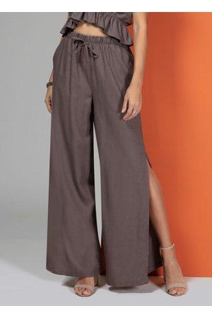 QUINTESS Mulher Calça Pantalona - Calça Pantalona com Fendas Laterais