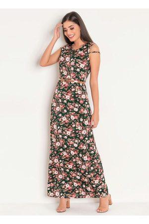 QUEIMA ESTOQUE Vestido Longo com Tule Floral Moda Evangélica
