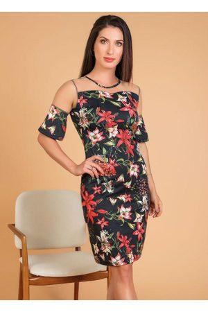 QUEIMA ESTOQUE Vestido Floral com Tule Moda Evangélica
