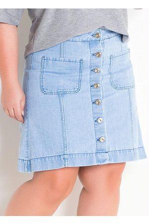 Marguerite Saia Jeans Claro com Botões Plus Size