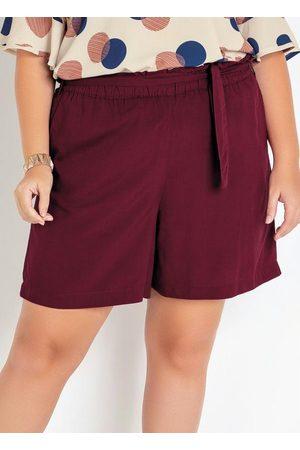 Mink Mulher Short - Shorts Plus Size Bordô Viscose com Amarração